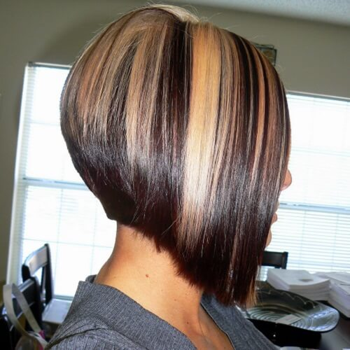 A Line Haircut with Highlights