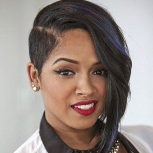 Asymmetrical Shaved Side Hairstyle for Black Women