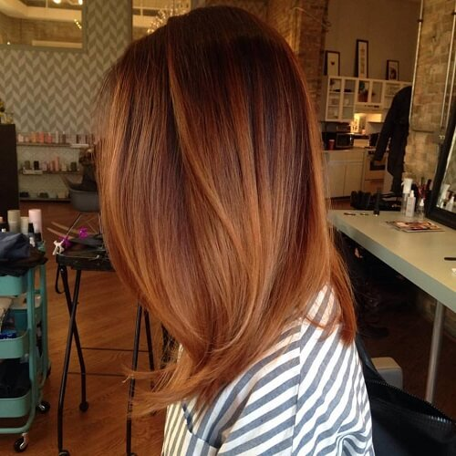 medium length copper color hair