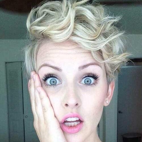 platinum blonde curly pixie cut