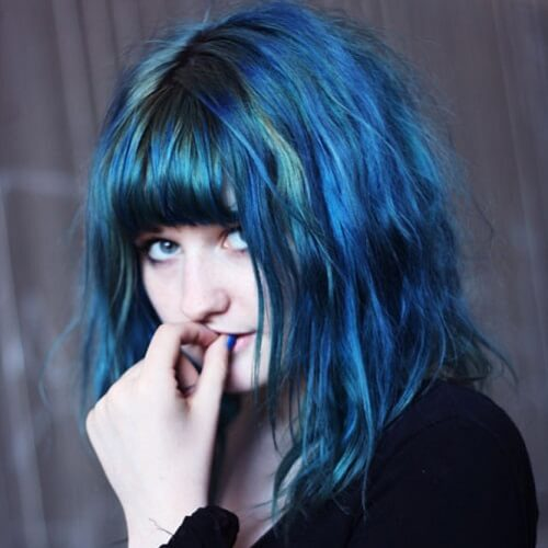 medium blue hair