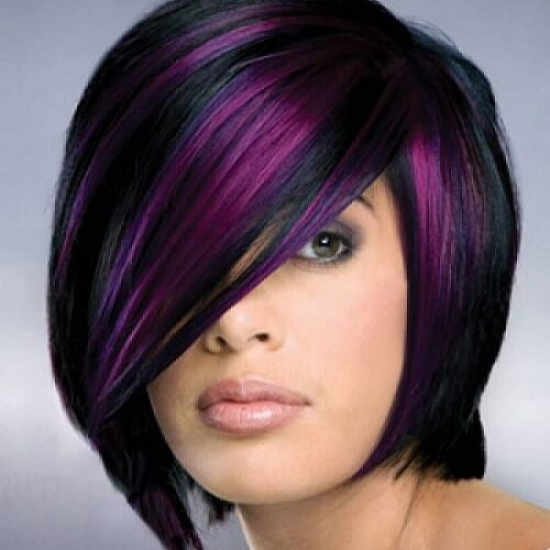 asymmetrical bob with purple highlights