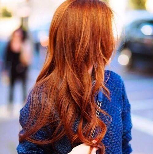 long wavy red hair