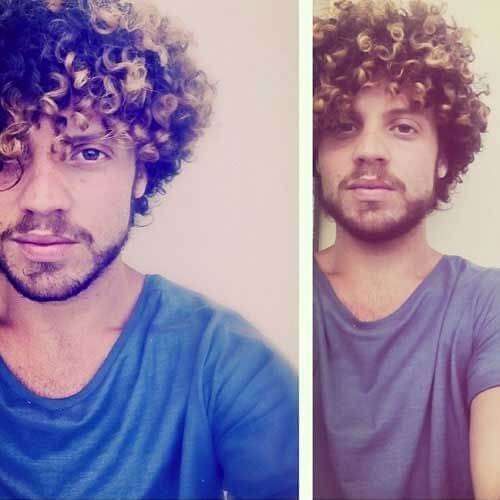 curly hair with ombre or highlights men hairstyle