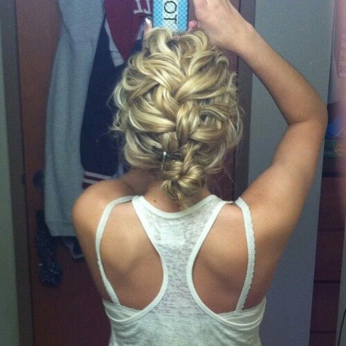Curly Braid Down Bun