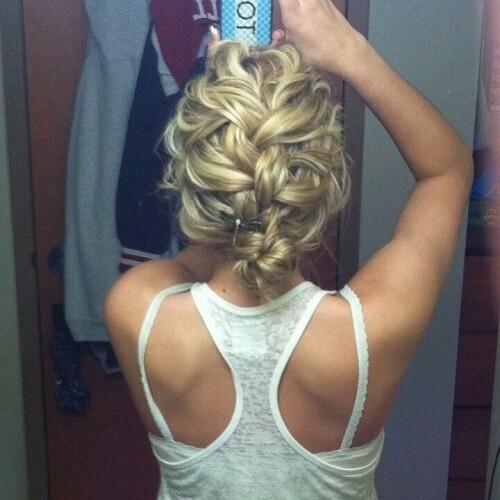 Curly Braid Down Bun