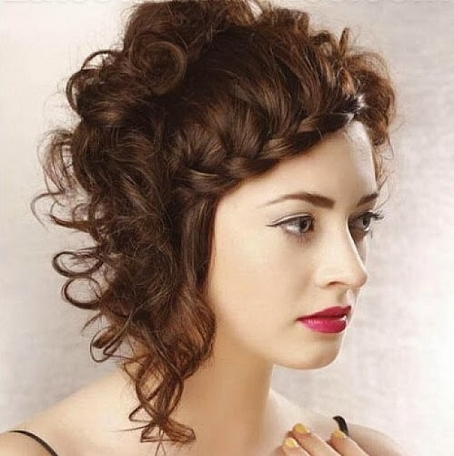 Curly and Braided Asymmetrical Hairstyle