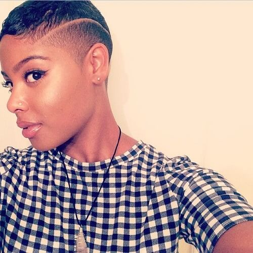 shaved hair with curvedline