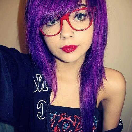 purple asymmetrical haircut