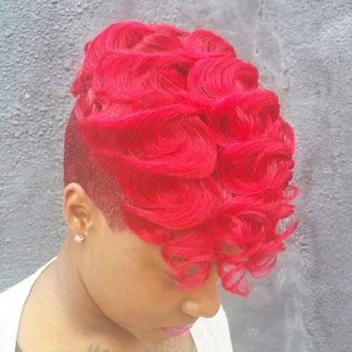 hot pink pixie hair cut