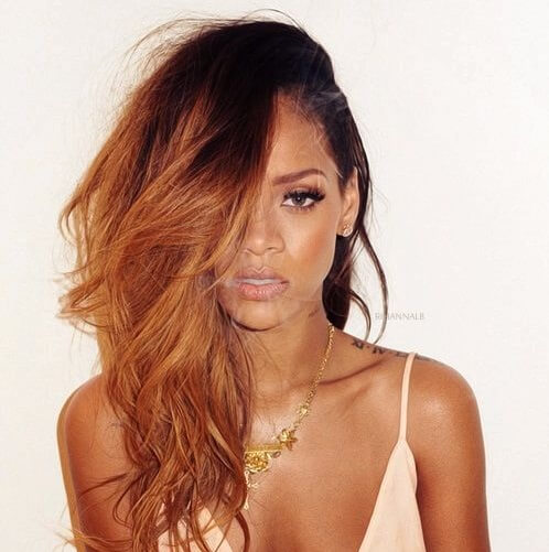 rihanna long hair dark roots