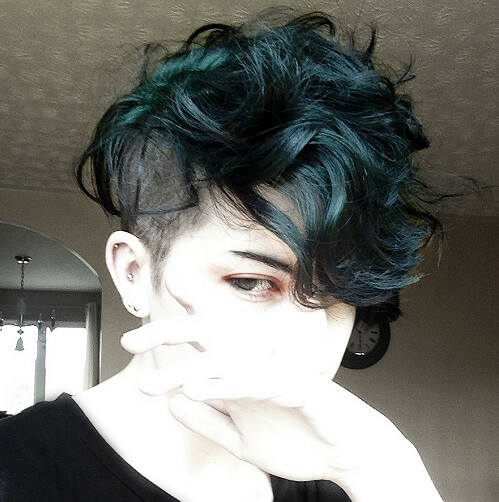 dark turquoise curly pixie cut