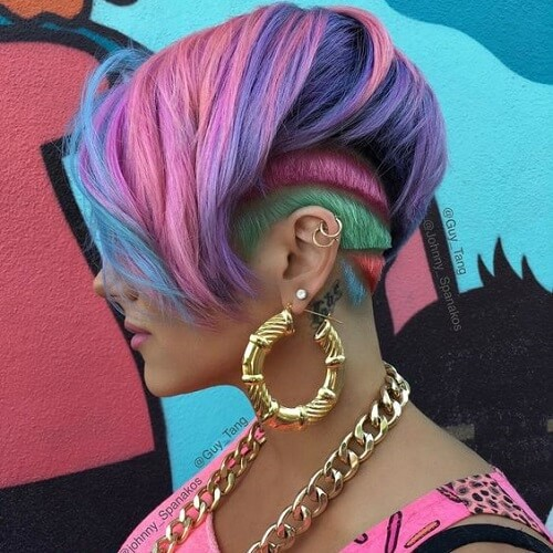 pastel rainbow shaved pixie haircut