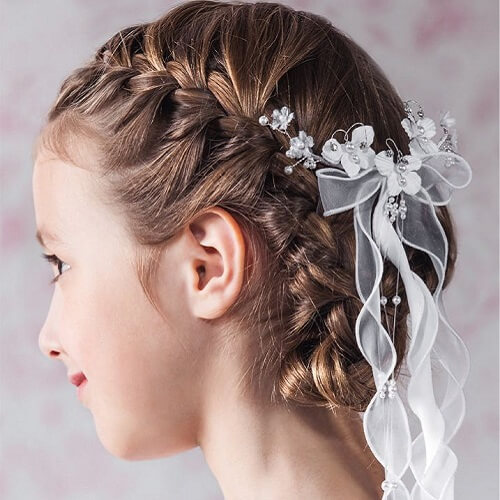 French Braids and White Ribbons