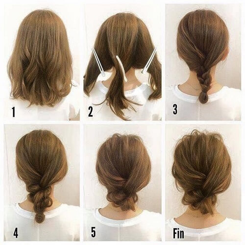 Easy Braided Updo For Medium Hair