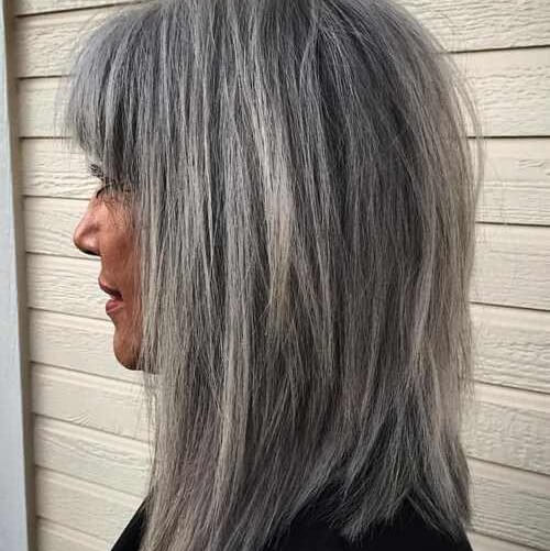 grey medium hair with bangs