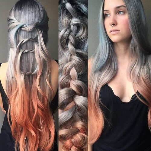 grey and copper ombre hair