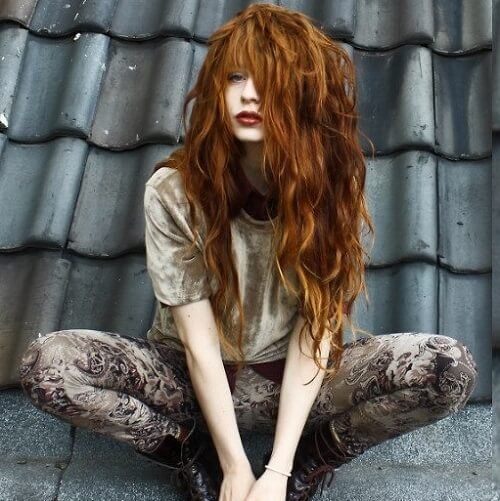 long wavy copper color hair