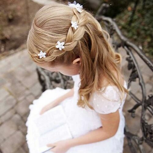 Half Up Braid and Flowers