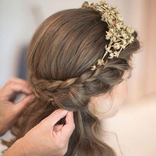 Half Up Braids and Gold Flower Tiara