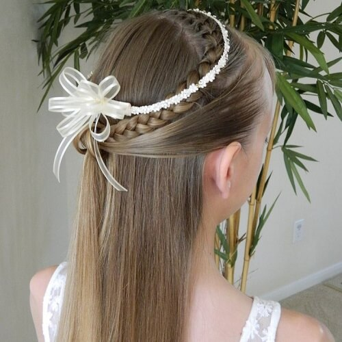 Half Up Curved Braid with Tiara