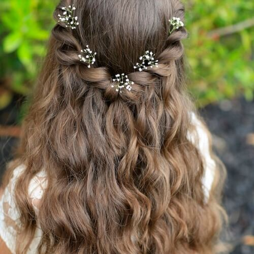 Half Up Twisted Braids with Wavy Hair