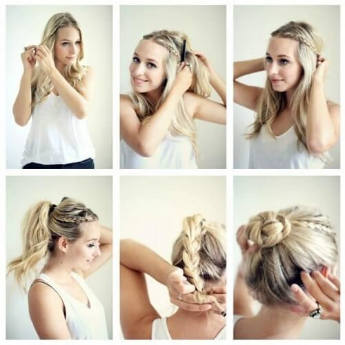 High Bun with Double Braids