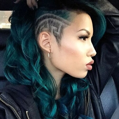dark turquoise hair with shaved side