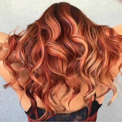 curly red hair with highlights