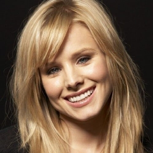 kristen bell medium long hair with bangs