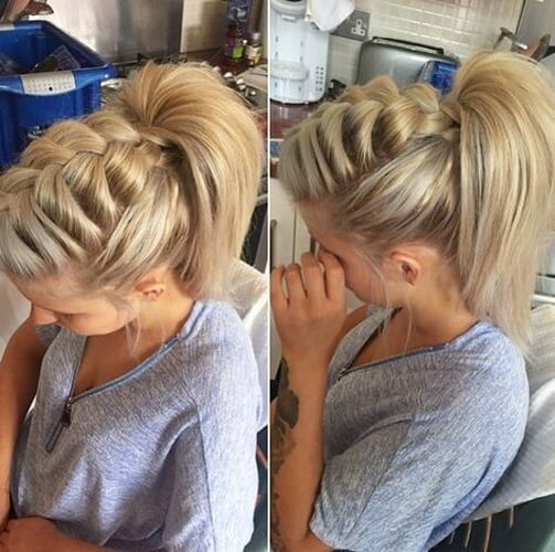 Loose French Braid High Ponytail