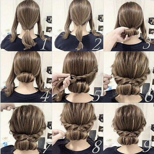 Low Bun with Twisted Braids