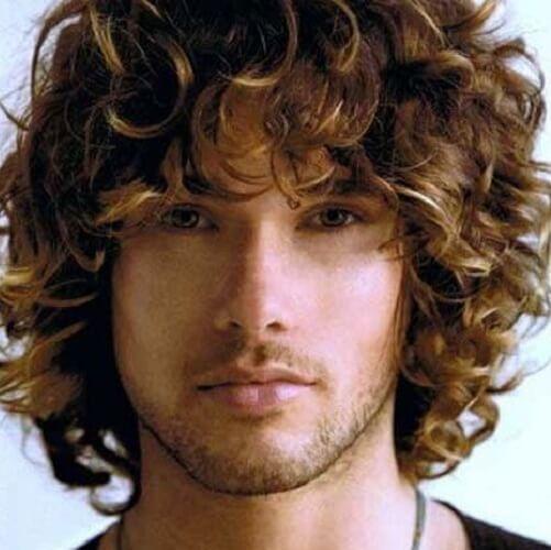 medium length messy curly hair