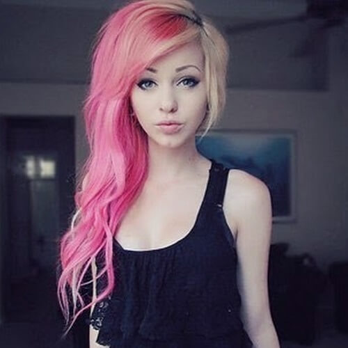 pink and blonde long asymmetrical haircut