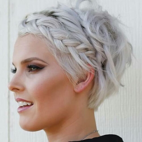 short silver hair with braided crown
