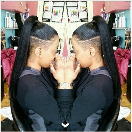 long ponytail shaved undercut