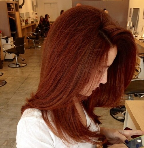 medium length auburn hair
