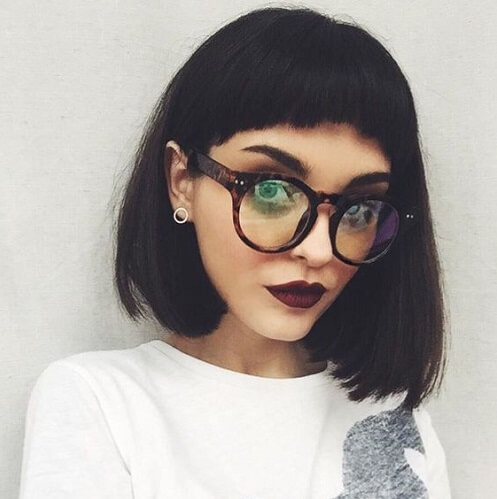 asymmetrical bob with short bangs