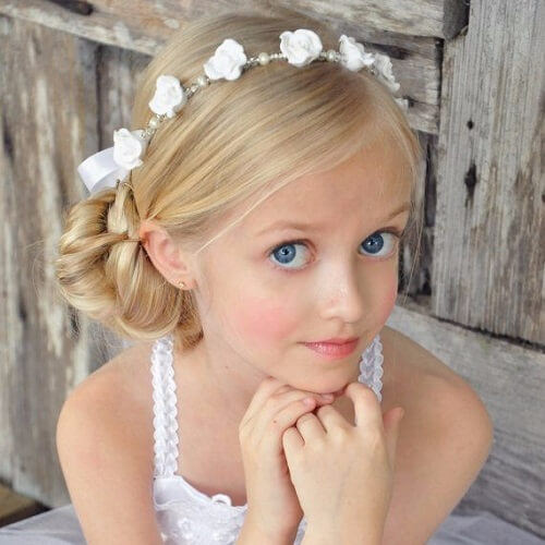 Side Chignon and Flower Headband