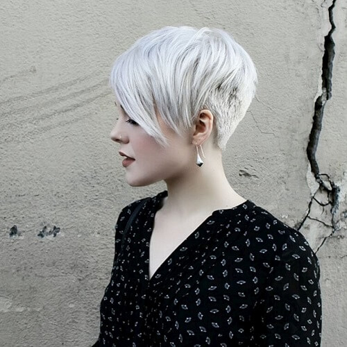 silver white pixie haircut