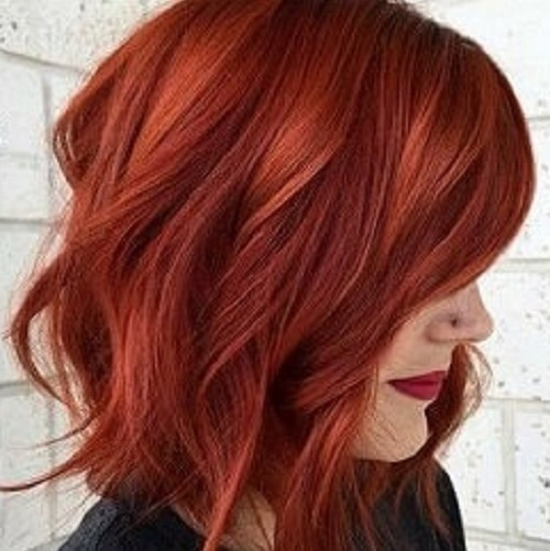 dark red long bob