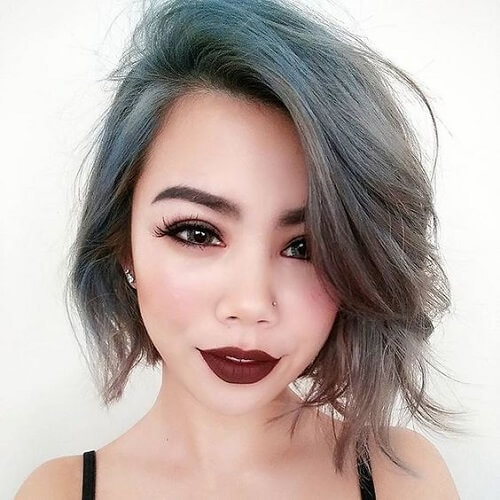 Steel Blue Asymmetrical Bob