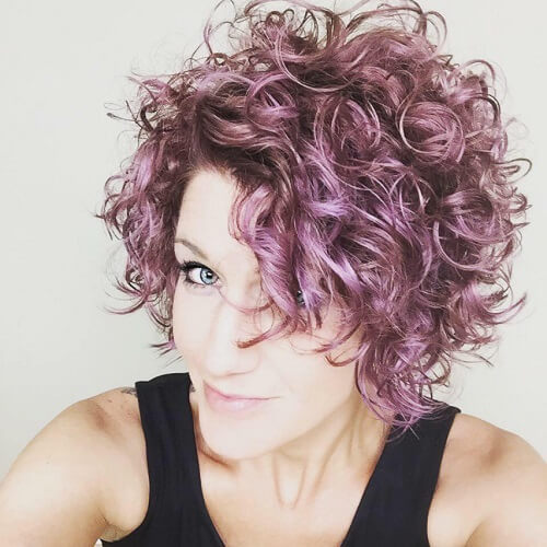 steel pink short curly hair