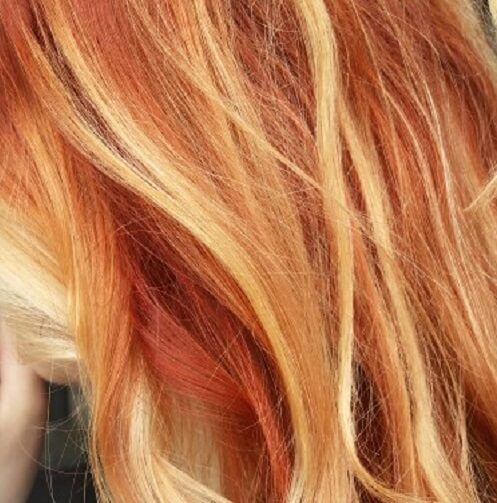 multicolor red and blonde highlights