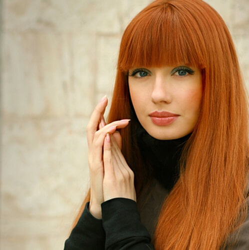 long straight orange red hair