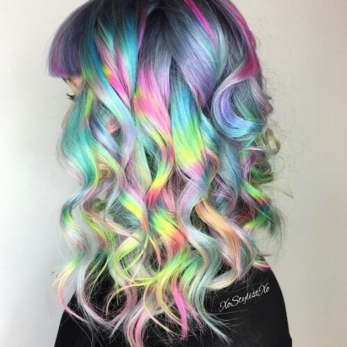 metallic rainbow hair