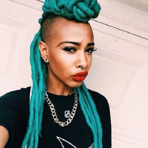 turquoise faux locs hair