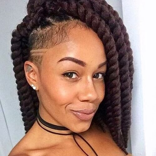 Twisted Braids with Shaved Side