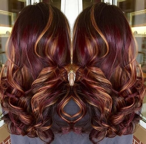 violet hair with copper highlights