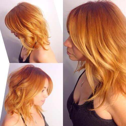 orange and blonde ombre
